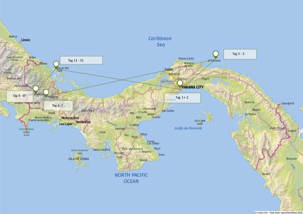 Route Panama_Individualreise Panama City bis Bocas del Toro