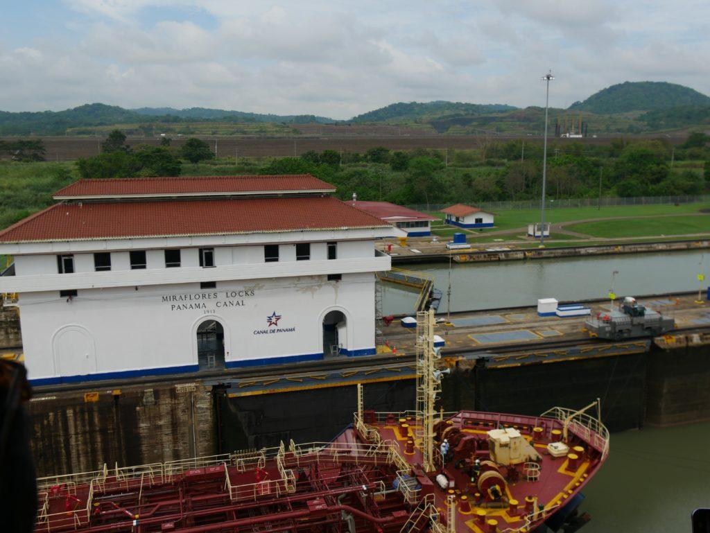 Panamakanal geöffnete Miraflores Schleuse