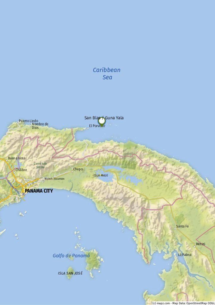 Karte San Blas Panama